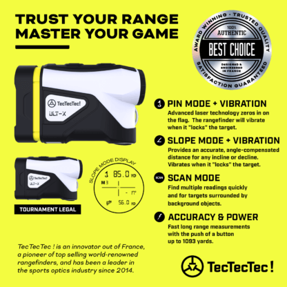 TecTecTec pin mode pin seeker scan mode angle-compensated vibration golf precision laser rangefinder ULT-X